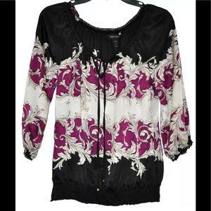 White House Black Market Floral Silk Blouse
